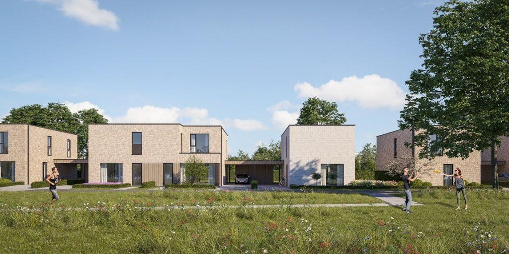 Render voorgevel moderne halfopen woningen te Zonhoven, een project van creja architectuur.