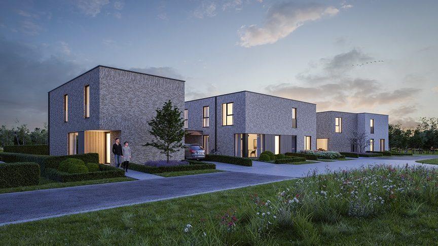 Render groepswoningbouwproject met moderne nieuwbouwwoningen te Zonhoven, een project van creja architectuur.