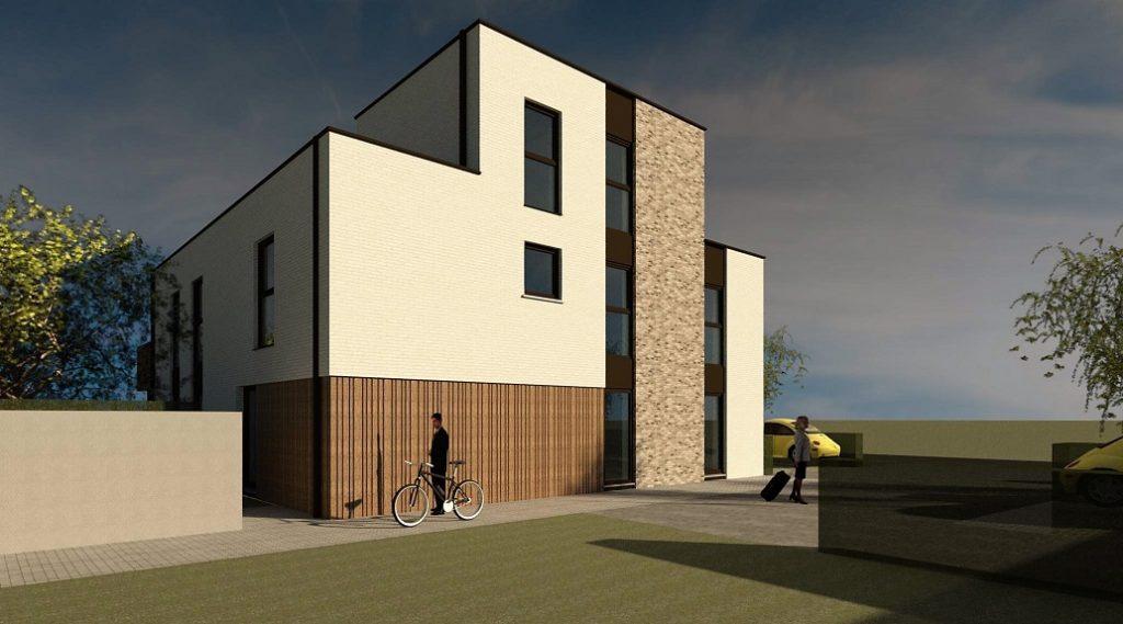 Render van de toegang tot het nieuwbouw appartementsgebouw te Zolder. Ontworpen door creja architectuur.